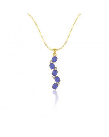 Collar Colgante de Oro 14K Tanzanita y Diamantes Cadena Oro incluida ADEN - 1