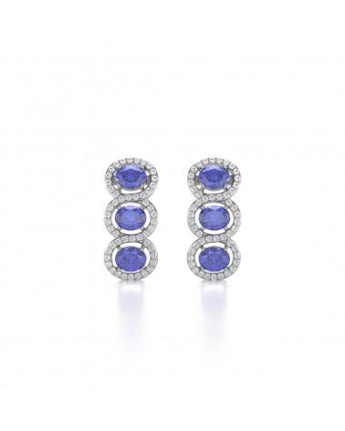 Orecchini in Tanzanite Diamanti Argento 925 ADEN - 1