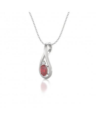 Colgante Pendente Rubino Diamanti Catena Argento inclusa ADEN - 3