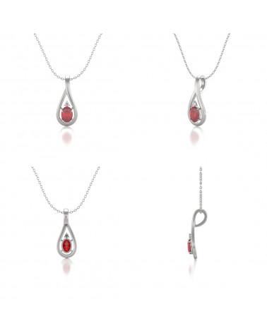 Colgante Pendente Rubino Diamanti Catena Argento inclusa ADEN - 2