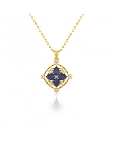 Colgante Pendente in Oro 14K Zaffiro Diamanti Catena Oro inclusa ADEN - 1