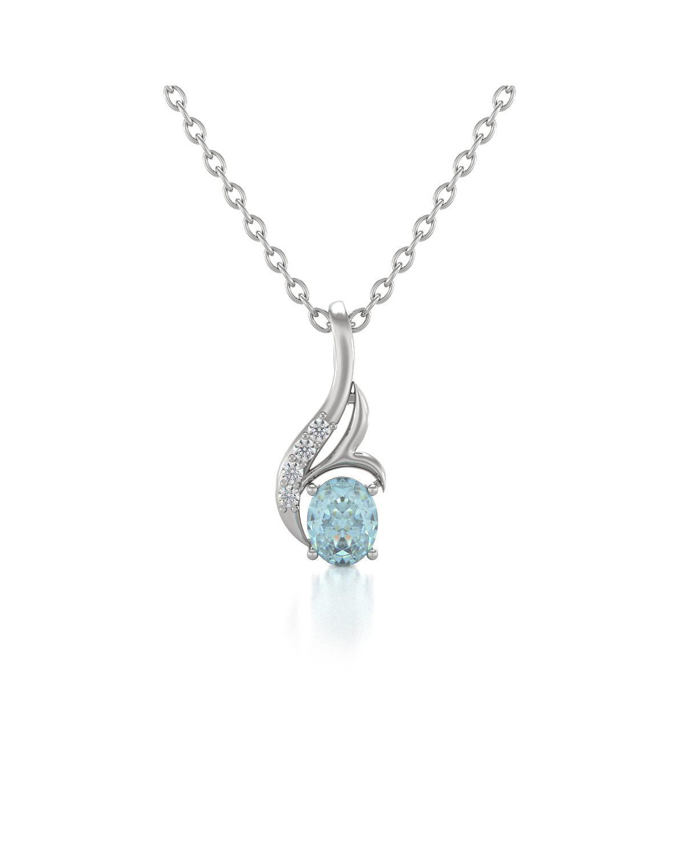 Collar Colgante Aguamarina y Diamantes Cadena Plata de Ley incluida
