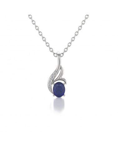 925 Silver Sapphire Diamonds Necklace Pendant Chain included ADEN - 1