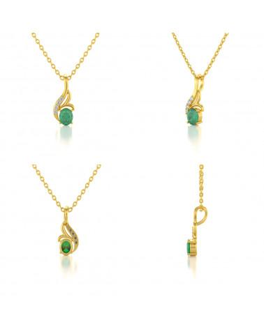 Colgante Pendente in Oro 14K Smeraldo Diamanti Catena Oro inclusa ADEN - 2
