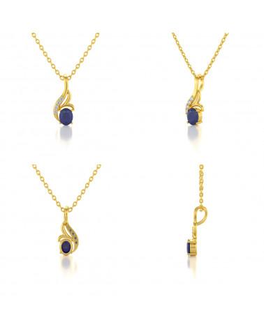 Colgante Pendente in Oro 14K Zaffiro Diamanti Catena Oro inclusa ADEN - 2