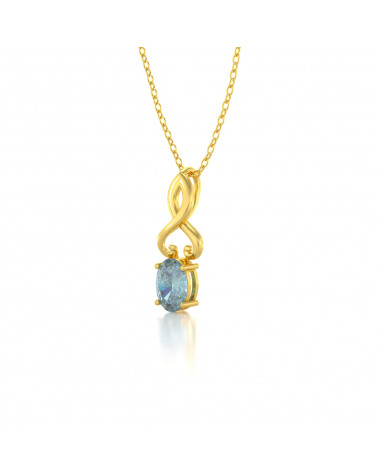 Collar Colgante de Oro 14K Aguamarina Cadena Oro incluida ADEN - 3