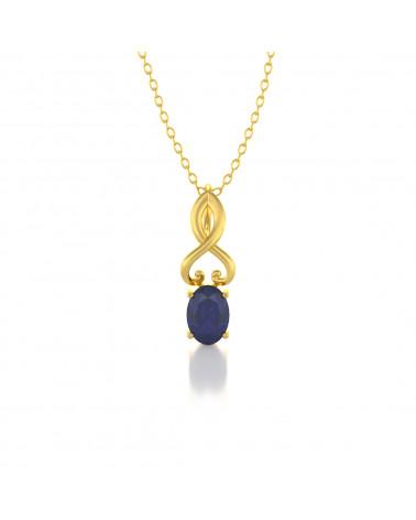 Collar Colgante de Oro 14K Zafiro Cadena Oro incluida ADEN - 1