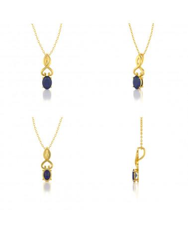 Collar Colgante de Oro 14K Zafiro Cadena Oro incluida ADEN - 2