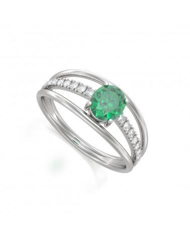 Anillo Esmeraldas y diamantes Plata de Ley 925 ADEN - 1