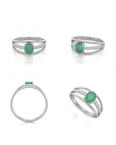 Anillo Esmeraldas y diamantes Plata de Ley 925 ADEN - 2