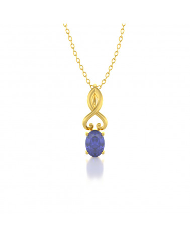 Collar Colgante de Oro Tanzanita y Diamantes Cadena Oro incluida ADEN - 1