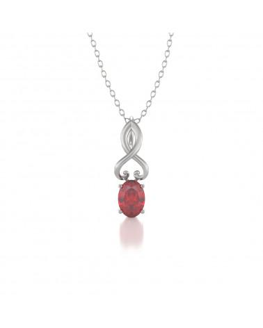 Colgante Pendente Rubino Diamanti Catena Argento inclusa ADEN - 1
