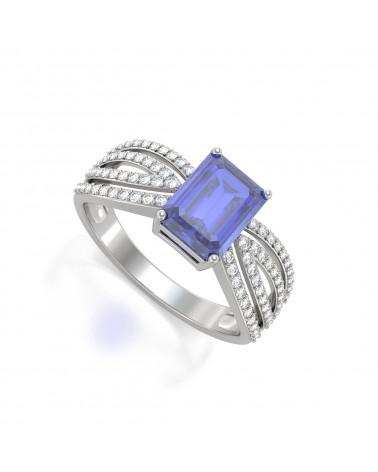 Anillo Tanzanita y diamantes Plata de Ley 925 ADEN - 1