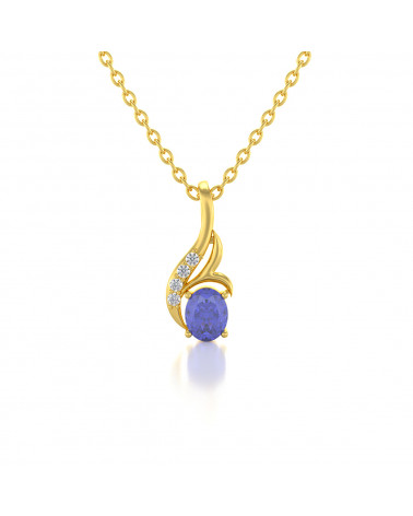 Colgante Pendente in Oro Tanzanite Diamanti Catena Oro inclusa ADEN - 1