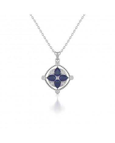 925 Silber Saphir Diamanten Halsketten Anhanger Silberkette enthalten ADEN - 1