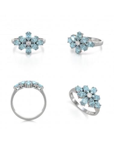 Anillo Aguamarina y diamantes Plata de Ley 925 ADEN - 2