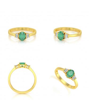 Anillo de Oro Esmeralda y diamantes ADEN - 2