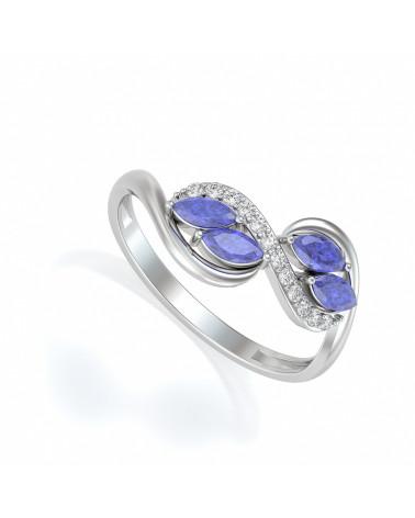 Anelli Tanzanite diamanti Argento 925 ADEN - 1