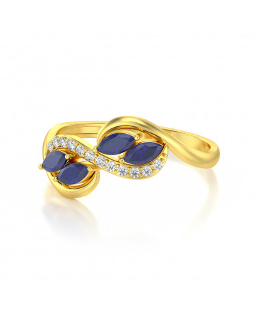 Anelli Oro Zaffiro diamanti 1.546grs ADEN - 4