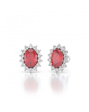 Orecchini in Rubino Diamanti Argento 925 ADEN - 3