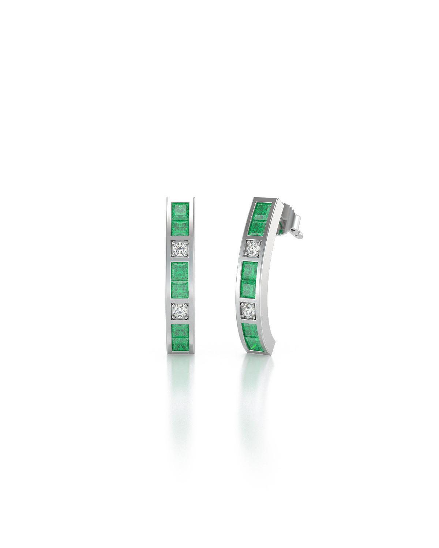 Orecchini in Oro 14K Smeraldo Diamanti