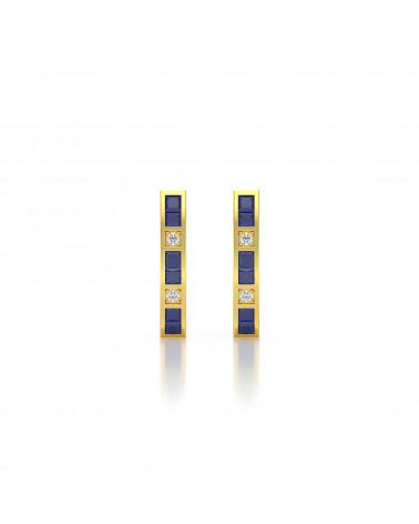 Pendientes  de Oro 14K Zafiro y Diamantes ADEN - 3