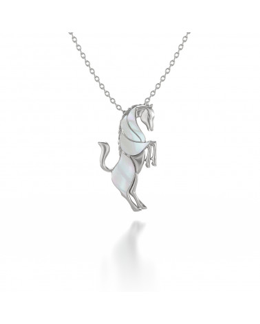 925 Sterling Silver White Mother of pearl Horse Pendant ADEN - 1
