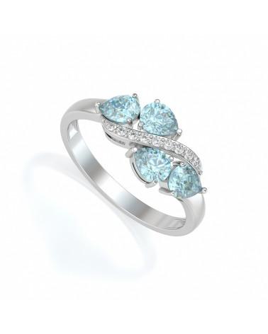 Anillo de Oro Aguamarina y diamantes ADEN - 1