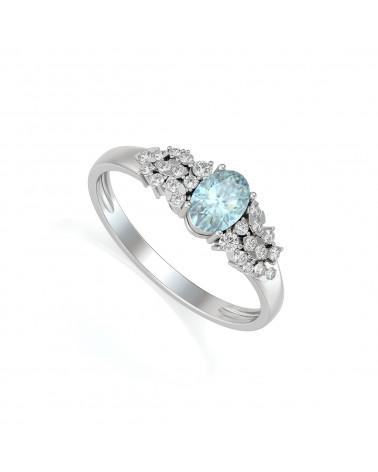 Anillo Aguamarina y diamantes Plata de Ley 925 ADEN - 1