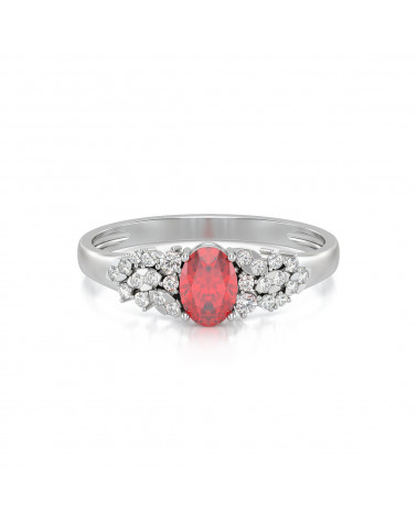 Anillo Rubi y diamantes Plata de Ley 925 ADEN - 3