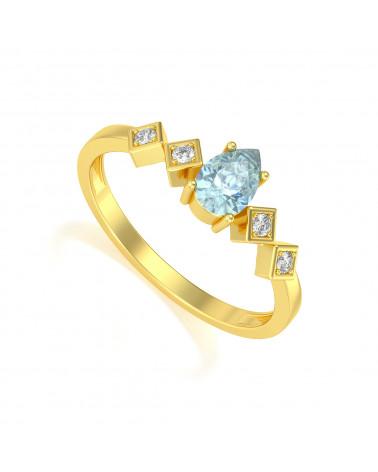 Anelli Oro Acquamarina diamanti 1.296grs ADEN - 1
