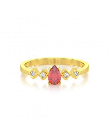 Anillo de Oro Rubi y diamantes 1.296grs ADEN - 3