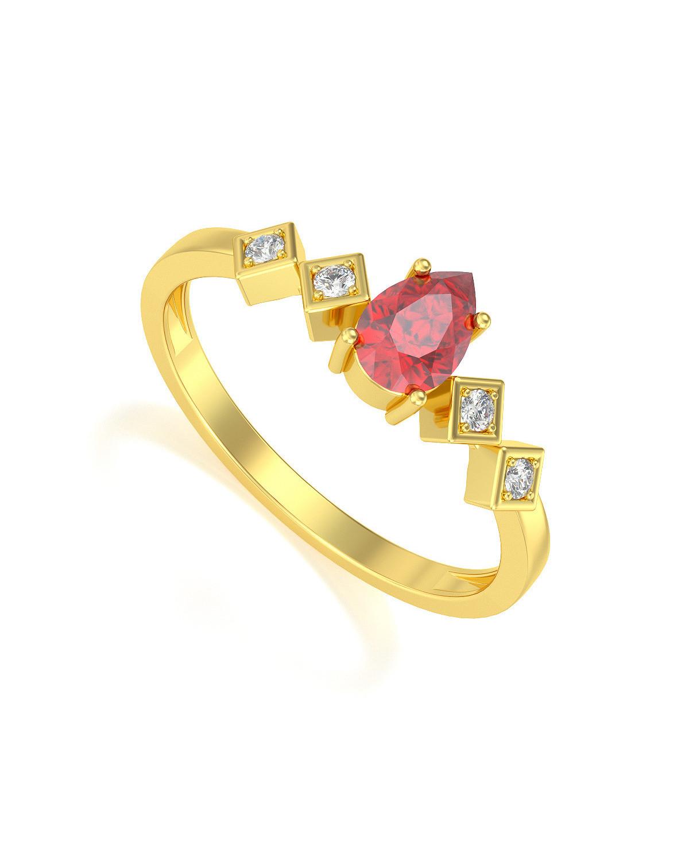 Anillo de Oro Rubi y diamantes 1.296grs