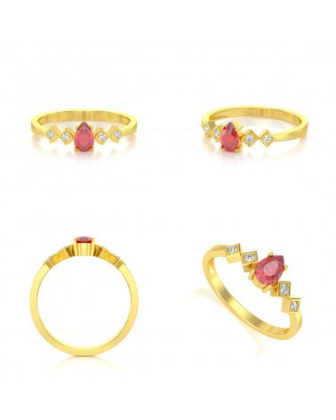 Anillo de Oro Rubi y diamantes 1.296grs ADEN - 2