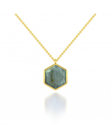 Gold Plated 925 Sterling Silver faceted Amazonite round shape Necklace ADEN - 1