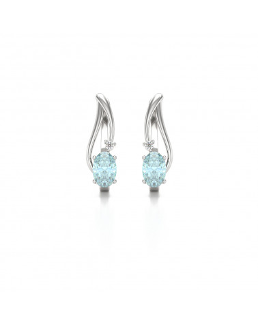 14K Gold Aquamarin Diamanten Ohrringe ADEN - 1