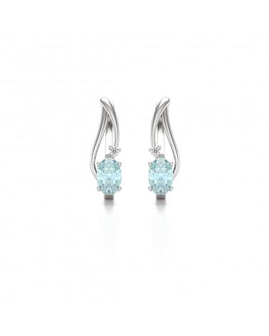 Pendientes  de Oro 14K Aguamarina y Diamantes ADEN - 1