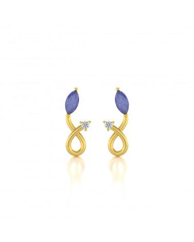 Pendientes  de Oro Tanzanita y Diamantes ADEN - 1