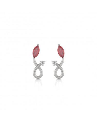 Pendientes Rubi y Diamantes Plate de Ley 925 ADEN - 1