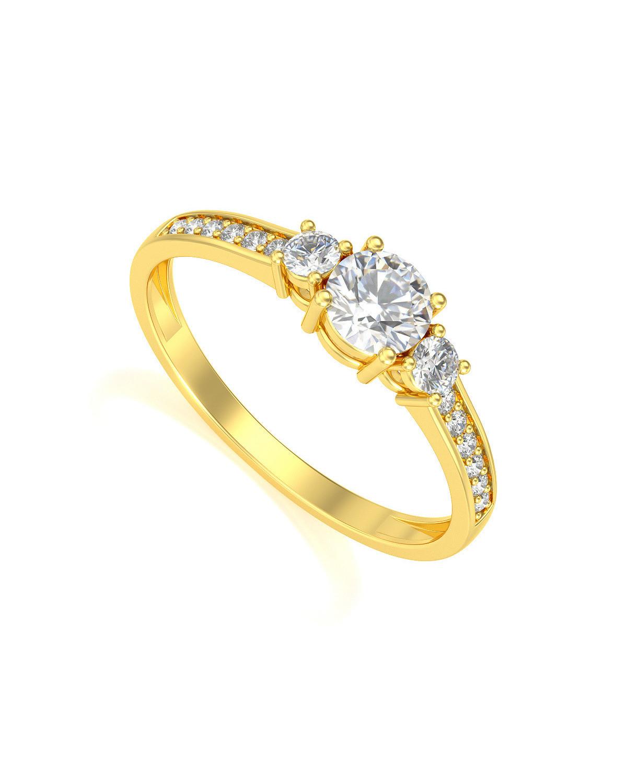 Anillo de Oro Diamantes 1.7grs