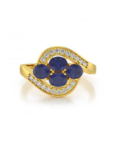 Anillo de Oro Zafiro y diamantes ADEN - 3