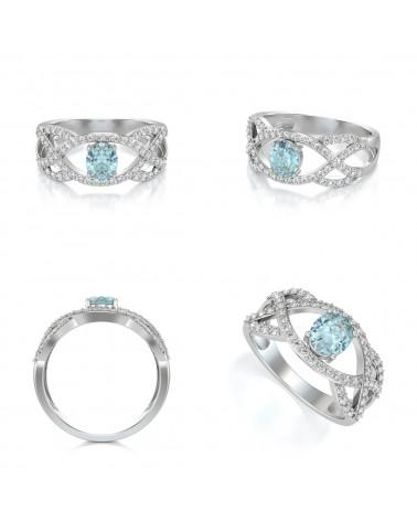 Anelli Acquamarina diamanti Argento 925 ADEN - 2