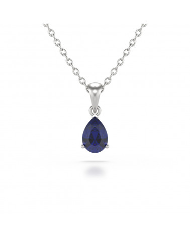 14K Gold Sapphire Necklace Pendant Gold Chain included ADEN - 1