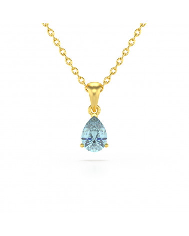 14K Gold Aquamarin Halsketten Anhanger Goldkette enthalten ADEN - 1