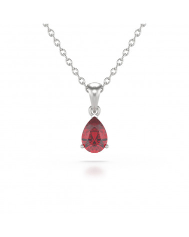 925 Silber Rubin Halsketten Anhanger Silberkette enthalten ADEN - 1