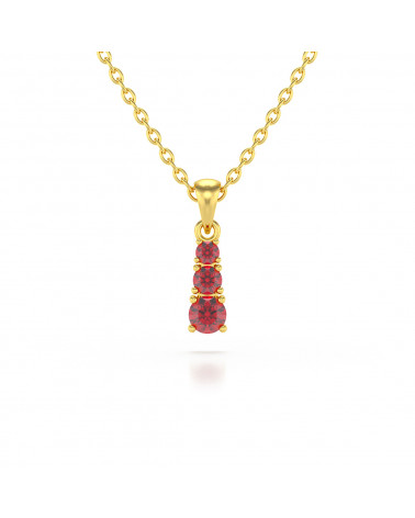 Colgante Pendente in Oro 14K Rubino Catena Oro inclusa ADEN - 1