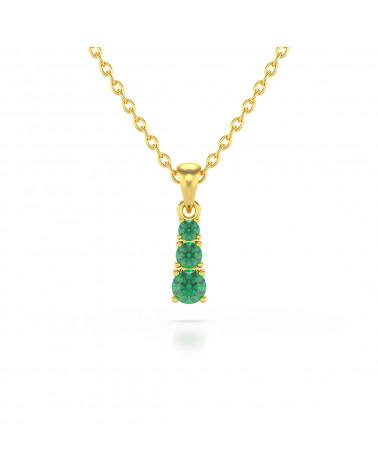 Collar Colgante de Oro 14K Esmeralda Cadena Oro incluida ADEN - 1
