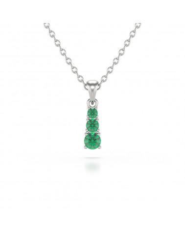 Colgante Pendente in Oro 14K Smeraldo Catena Oro inclusa ADEN - 1
