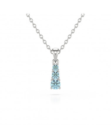 14K Gold Aquamarine Necklace Pendant Gold Chain included ADEN - 1