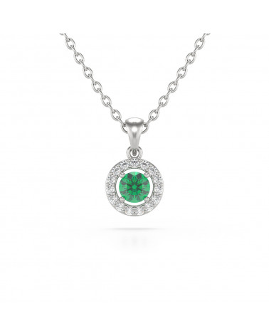 14K Gold Emerald Diamonds Necklace Pendant Gold Chain included ADEN - 1